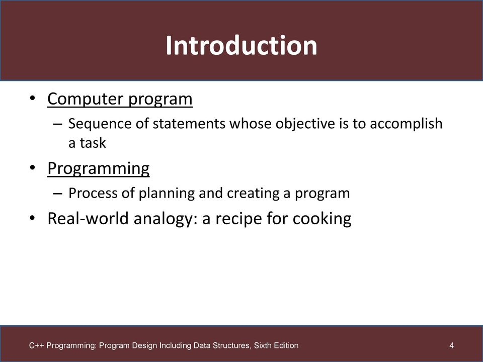 task Programming Process of planning and