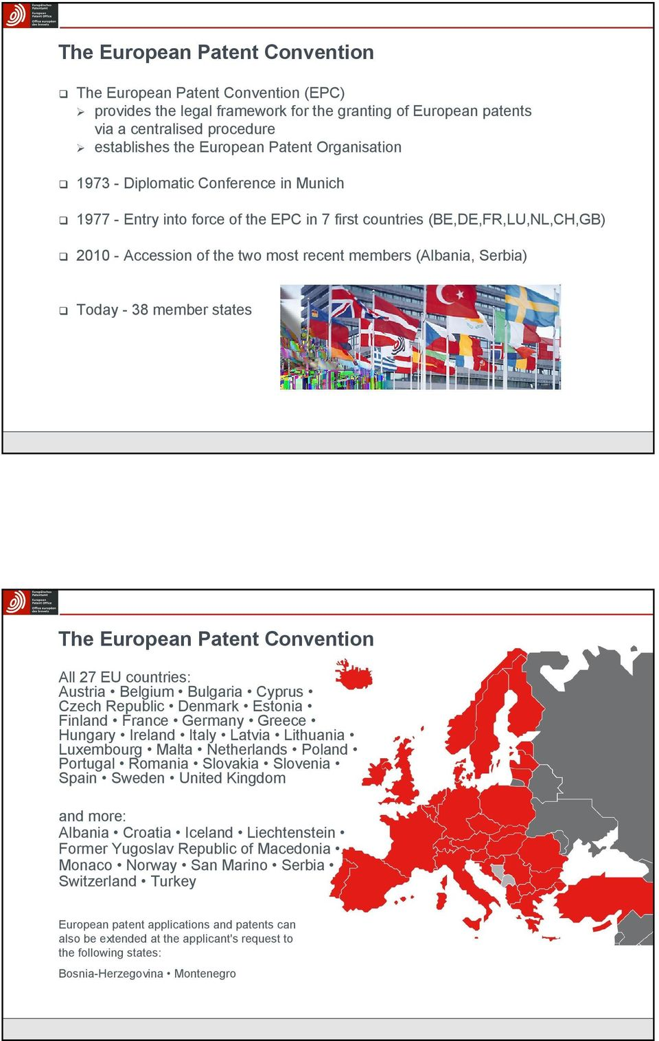 - 38 member states The European Patent Convention All 27 EU countries: Austria Belgium Bulgaria Cyprus Czech Republic Denmark Estonia Finland France Germany Greece Hungary Ireland Italy Latvia