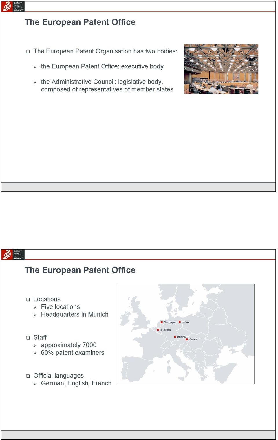 representatives of member states The European Patent Office Locations Five locations