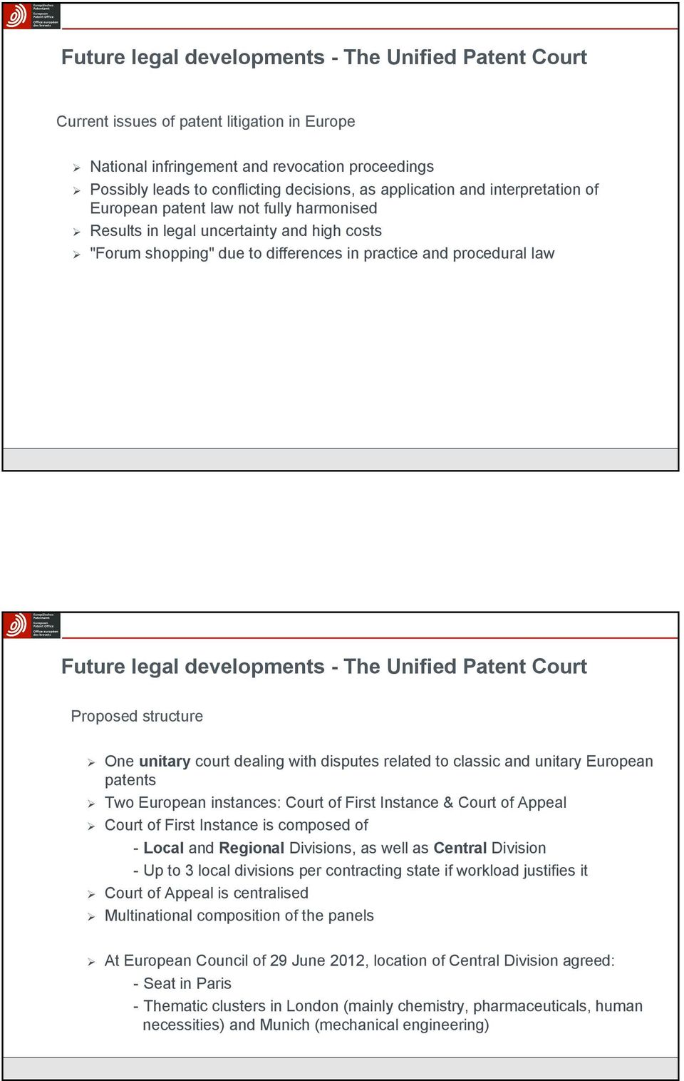 developments - The Unified Patent Court Proposed structure One unitary court dealing with disputes related to classic and unitary European patents Two European instances: Court of First Instance &