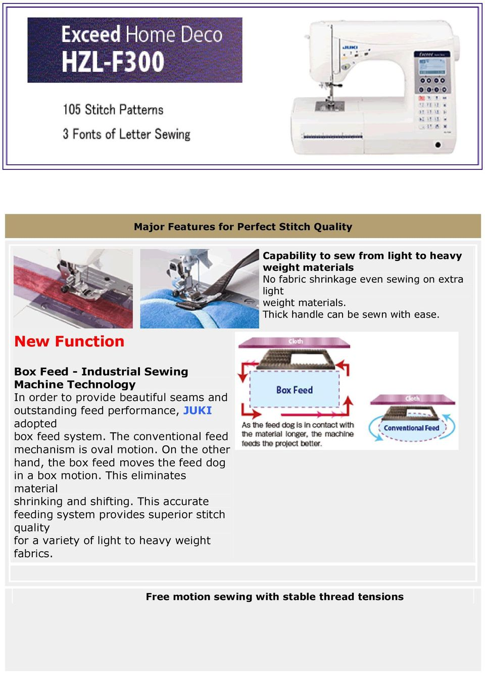 New Function Box Feed - Industrial Sewing Machine Technology In order to provide beautiful seams and outstanding feed performance, JUKI adopted box feed system.