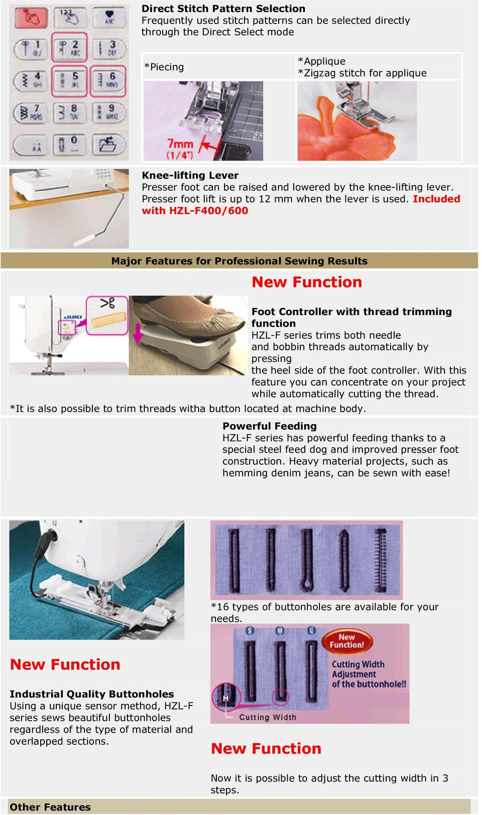 Included with HZL-F400/600 Major Features for Professional Sewing Results New Function Foot Controller with thread trimming function HZL-F series trims both needle and bobbin threads automatically by