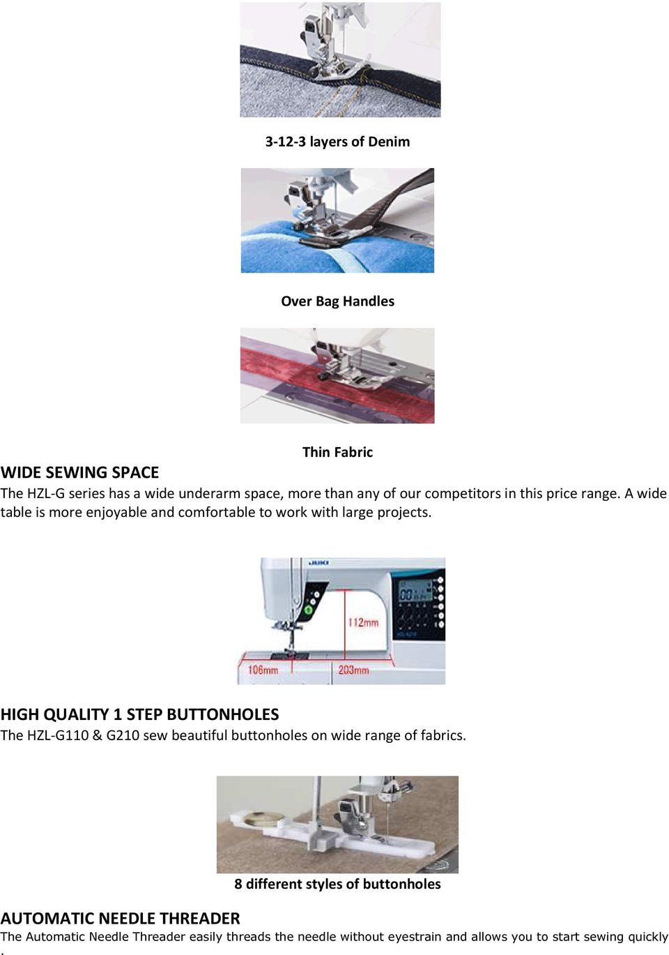 HIGH QUALITY 1 STEP BUTTONHOLES The HZL-G110 & G210 sew beautiful buttonholes on wide range of fabrics.