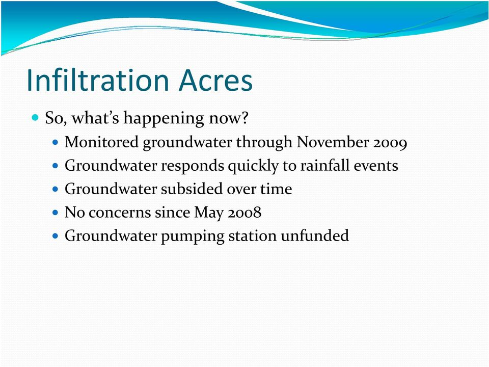 responds quickly to rainfall events Groundwater subsided