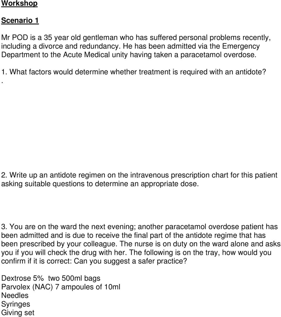 Write up an antidote regimen on the intravenous prescription chart for this patient asking suitable questions to determine an appropriate dose. 3.