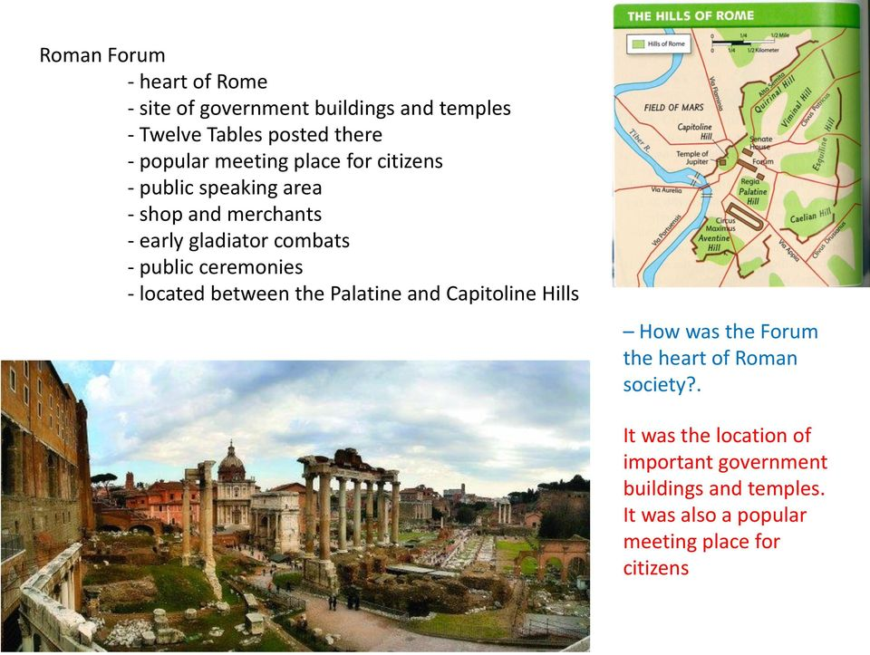 ceremonies - located between the Palatine and Capitoline Hills How was the Forum the heart of Roman society?