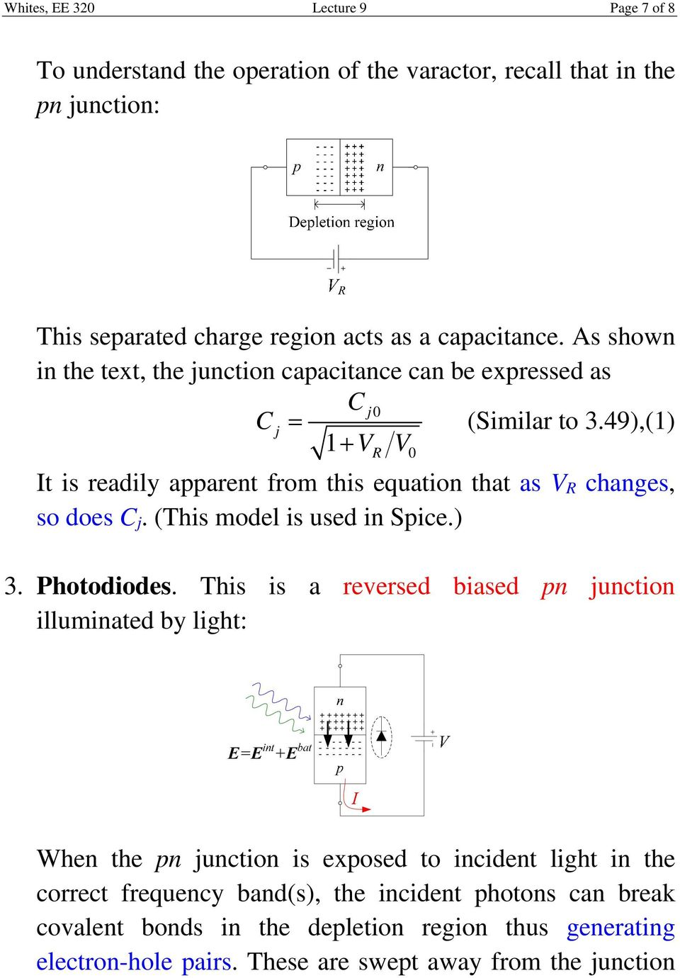 49),(1) 1 VR V0 It is readily apparent from this equation that as V R changes, so does C j. (This model is used in Spice.) 3. Photodiodes.
