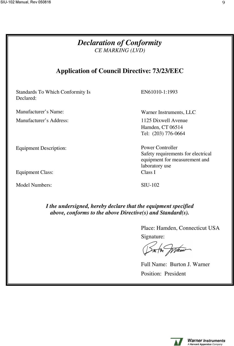 (203) 776-0664 Power Controller Safety requirements for electrical equipment for measurement and laboratory use Class I SIU-102 I the undersigned, hereby declare