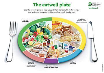 The Eatwell Plate, putting advice into practice The Food Standards Agency s Eatwell plate (illustrated above) is a model of how to eat healthily and is based on the 8 guidelines for a healthy diet