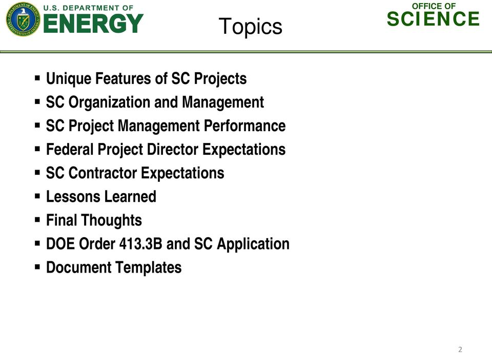 Director Expectations SC Contractor Expectations Lessons