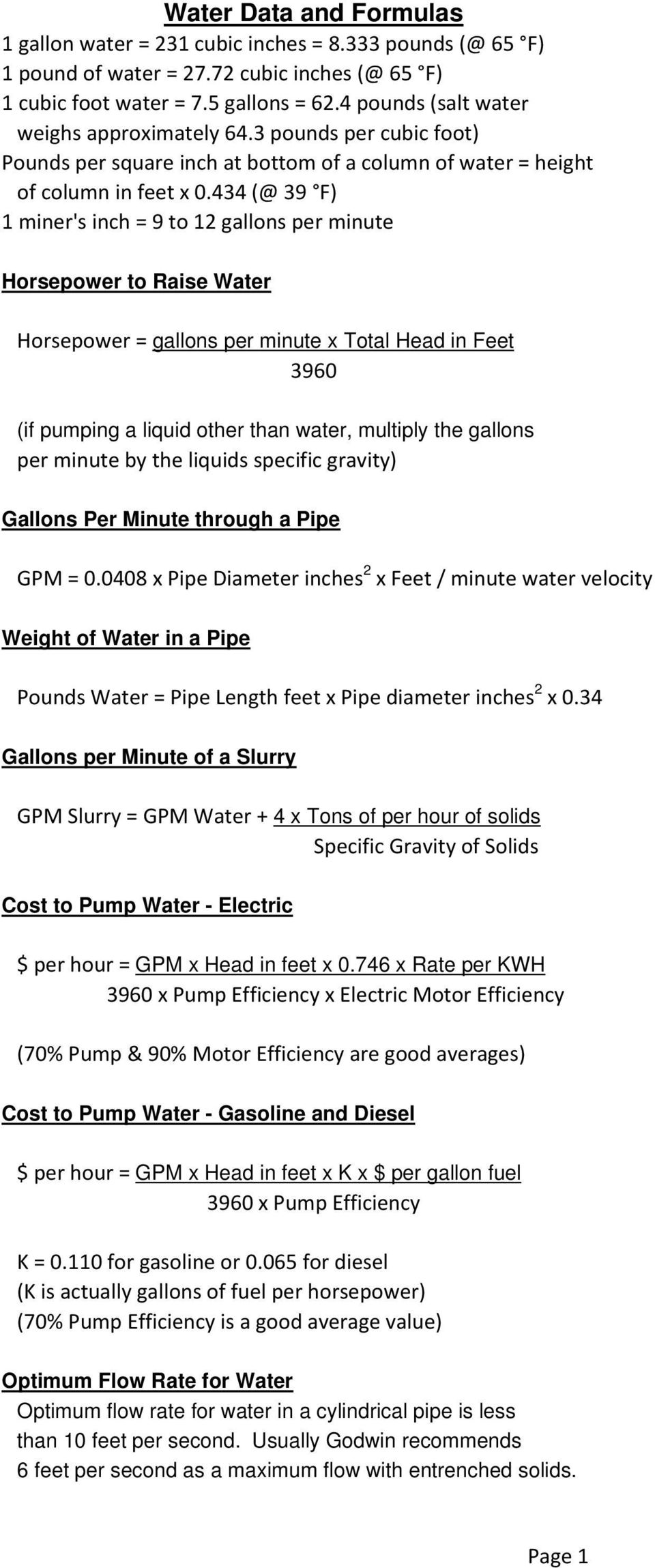 434 (@ 39 F) 1 miner's inch = 9 to 12 gallons per minute Horsepower to Raise Water Horsepower = gallons per minute x Total Head in Feet 3960 (if pumping a liquid other than water, multiply the