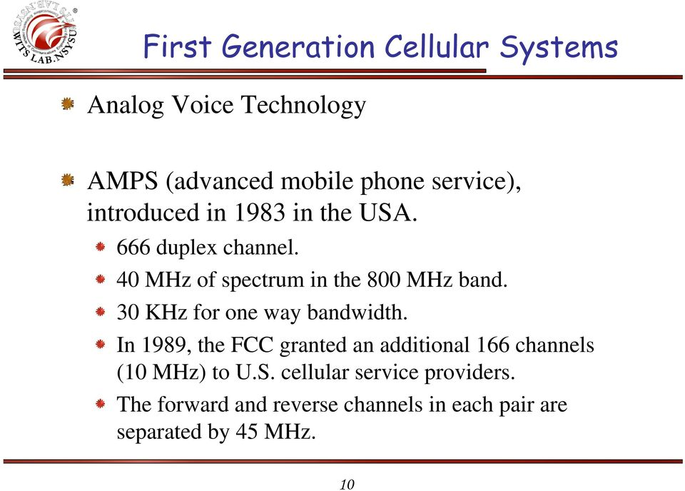 30 KHz for one way bandwidth. In 1989, the FCC granted an additional 166 channels (10 MHz) to U.