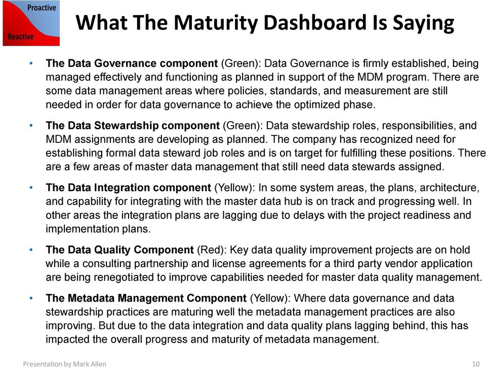 The Data Stewardship component (Green): Data stewardship roles, responsibilities, and MDM assignments are developing as planned.