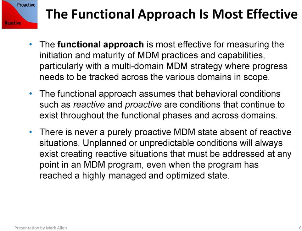 The functional approach assumes that behavioral conditions such as reactive and proactive are conditions that continue to exist throughout the functional phases and across domains.