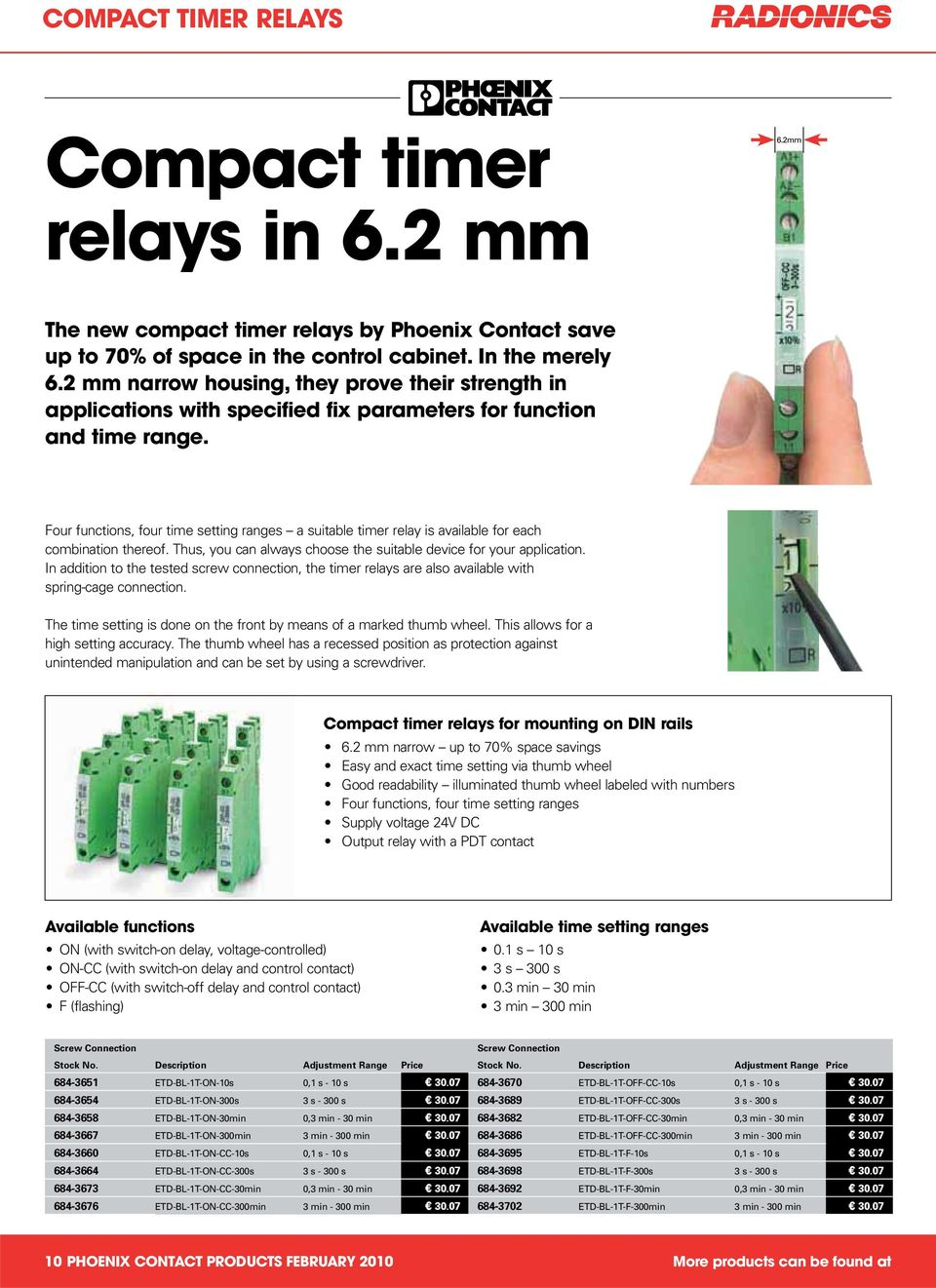 Product Selection Phoenix Contact February With Over 17000 Delayed Switchon Relay Driver Four Functions Time Setting Ranges A Suitable Timer Is Available For Each Combination