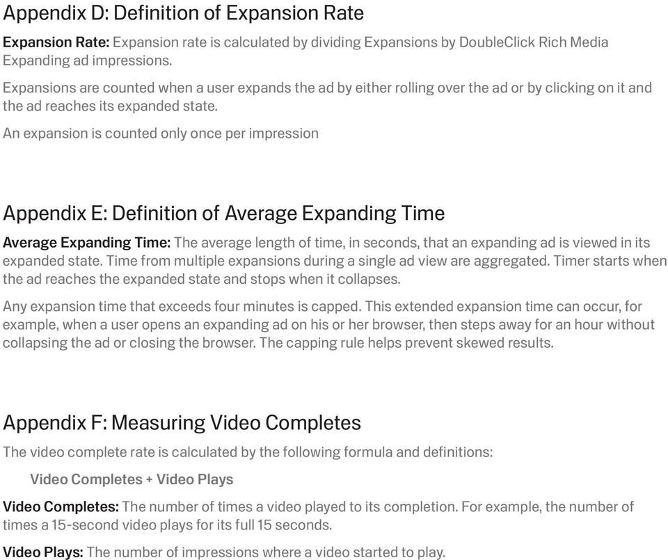 An expansion is counted only once per impression Appendix E: Definition of Average Expanding Time Average Expanding Time: The average length of time, in seconds, that an expanding ad is viewed in its