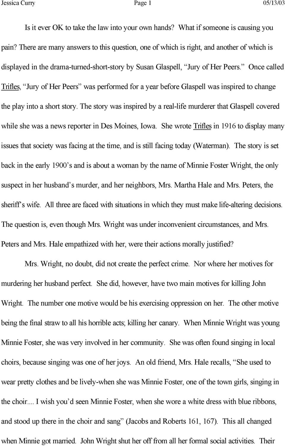 Plot Summary of Trifles by Susan Glaspell