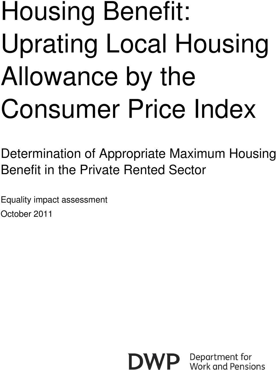 Appropriate Maximum Housing Benefit in the