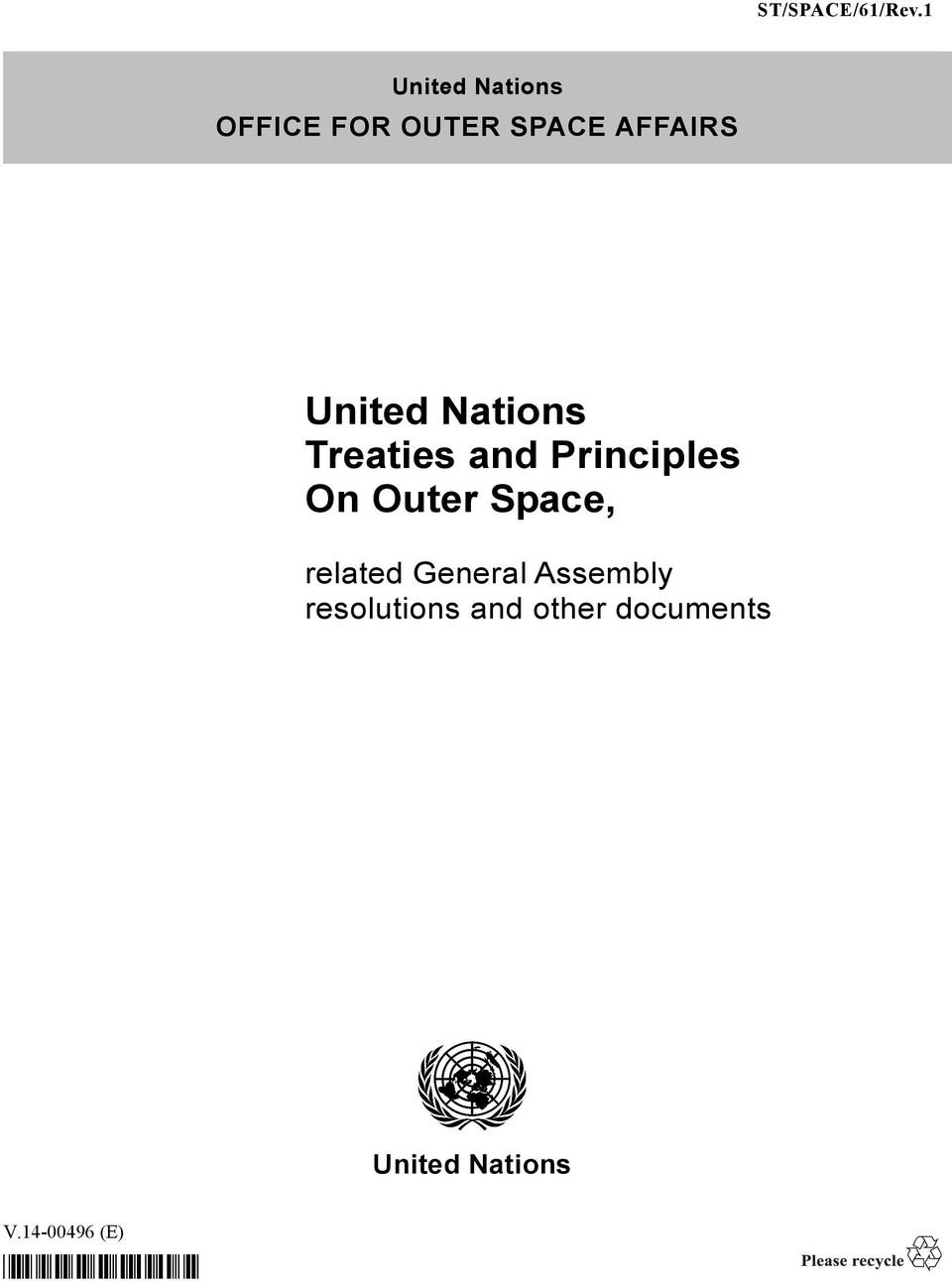 United Nations Treaties and Principles On Outer