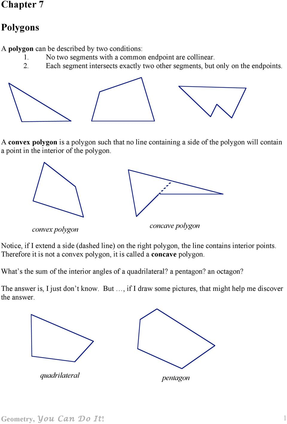 A convex polygon is a polygon such that no line containing a side of the polygon will contain a point in the interior of the polygon.