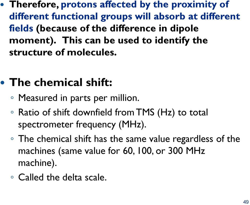 The chemical shift: Measured in parts per million.