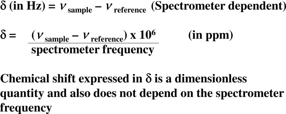 frequency Chemical shift expressed in δ is a dimensionless