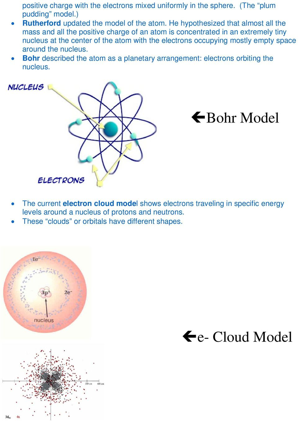 electrons occupying mostly empty space around the nucleus. Bohr described the atom as a planetary arrangement: electrons orbiting the nucleus.