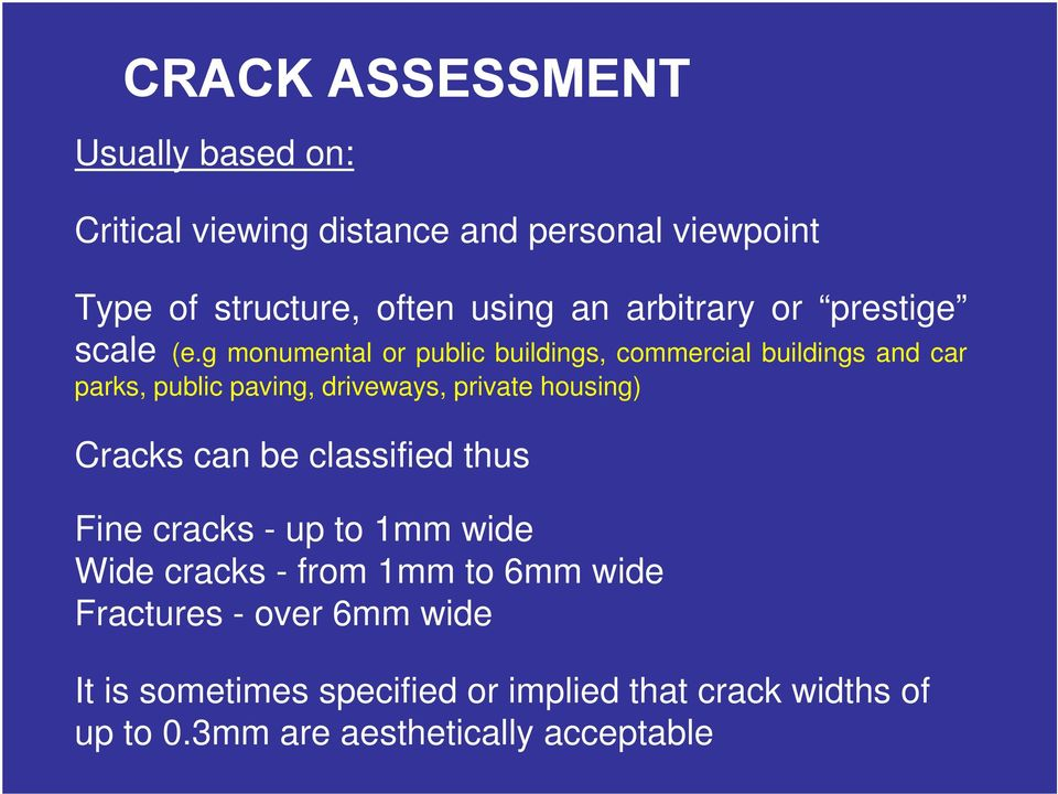 g monumental or public buildings, commercial buildings and car parks, public paving, driveways, private housing) Cracks