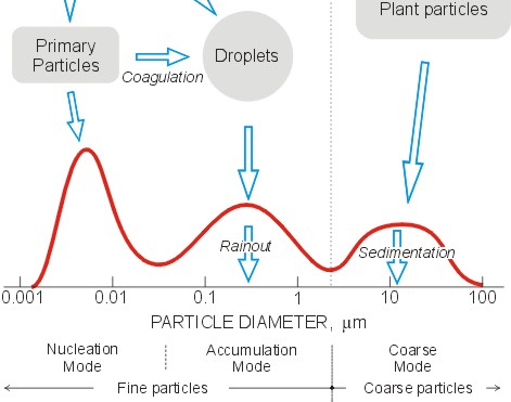 Particulate Matter Size Distribution and Sources PM 10 primary grinding processes (road