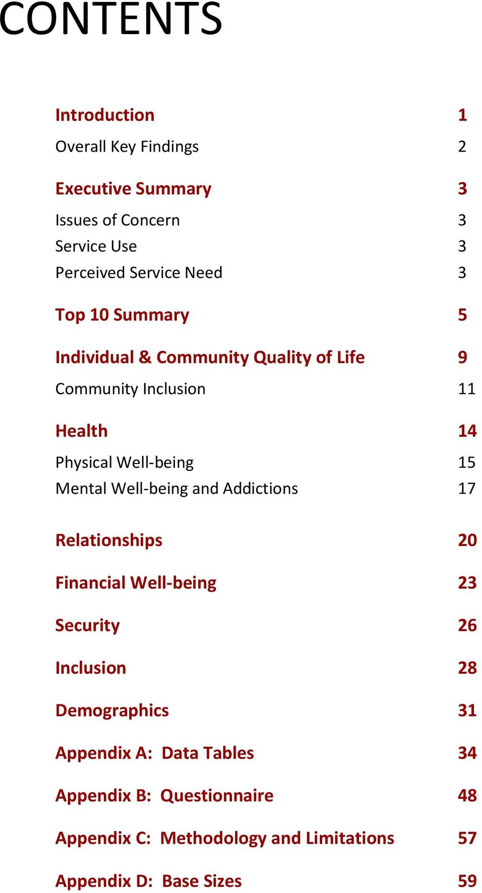 Mental Well-being and Addictions 17 Relationships 20 Financial Well-being 23 Security 26 Inclusion 28 Demographics 31
