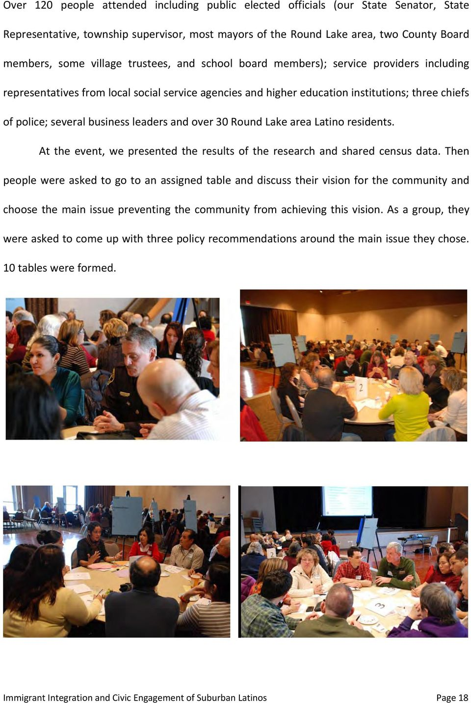 and over 30 Round Lake area Latino residents. At the event, we presented the results of the research and shared census data.