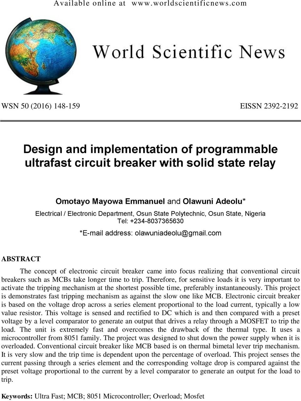 Design And Implementation Of Programmable Ultrafast Circuit Breaker Build Solidstate Lighting Content From Electronic Department Osun State Polytechnic Nigeria Tel 234