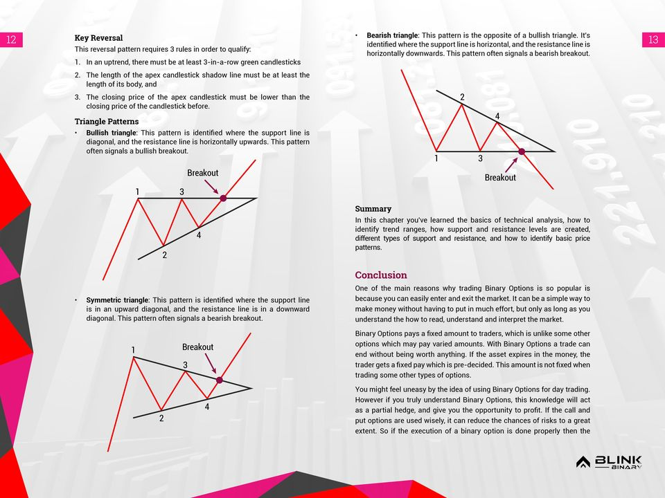 Triangle Patterns Bullish triangle: This pattern is identified where the support line is diagonal, and the resistance line is horizontally upwards. This pattern often signals a bullish breakout.