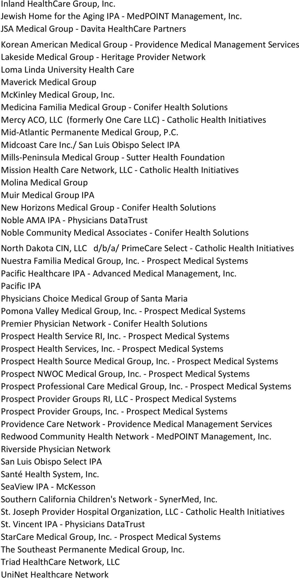 Group McKinley Medical Group, Inc. Medicina Familia Medical Group - Conifer Health Solutions Mercy ACO, LLC (formerly One LLC) - Catholic Health Initiatives Mid-Atlantic Permanente Medical Group, P.C. Midcoast Inc.