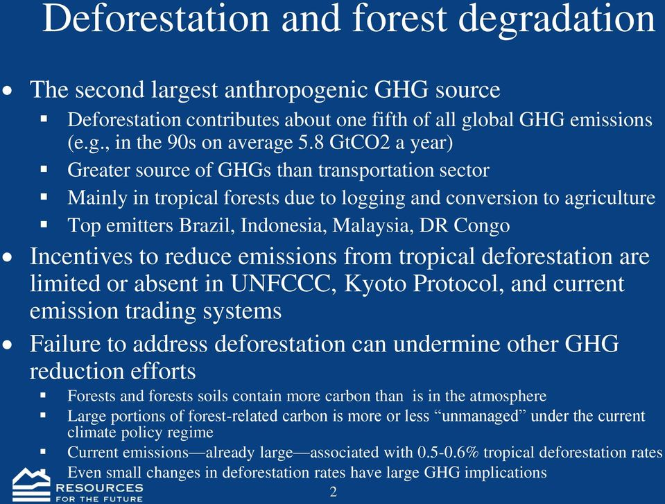 to reduce emissions from tropical deforestation are limited or absent in UNFCCC, Kyoto Protocol, and current emission trading systems Failure to address deforestation can undermine other GHG
