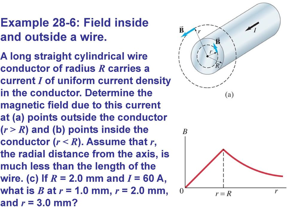 Determine the magnetic field due to this current at (a) points outside the conductor (r > R) and (b) points inside the