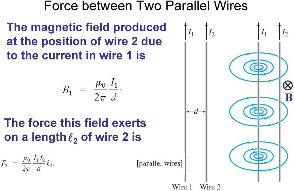 wire 2 due to the current in wire 1 is B The