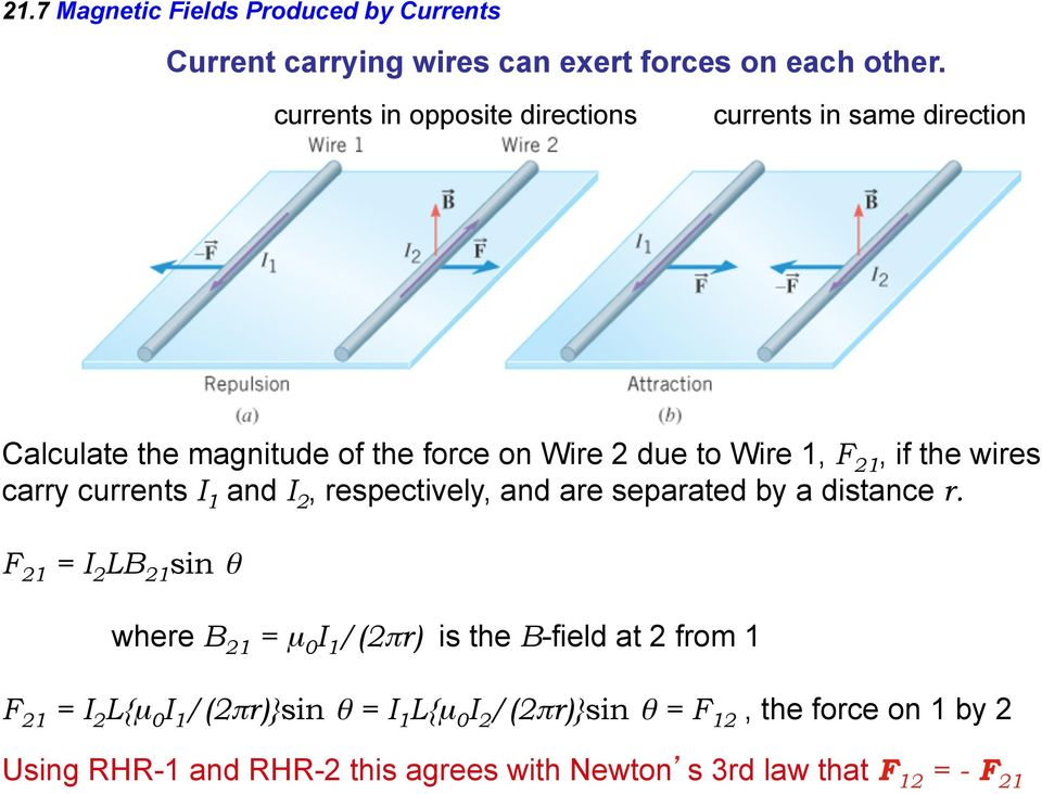 if the wires carry currents I 1 and I 2, respectively, and are separated by a distance r.