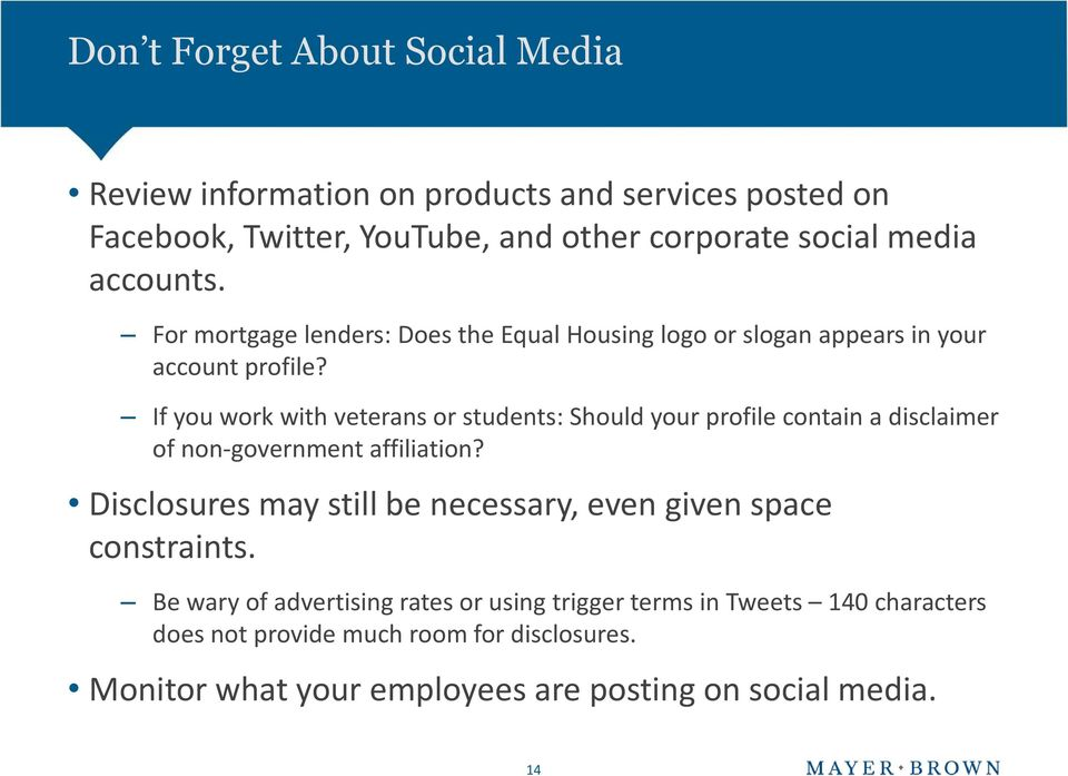 If you work with veterans or students: Should your profile contain a disclaimer of non-government affiliation?