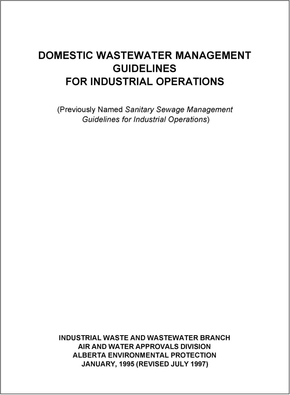 Operations) INDUSTRIAL WASTE AND WASTEWATER BRANCH AIR AND WATER