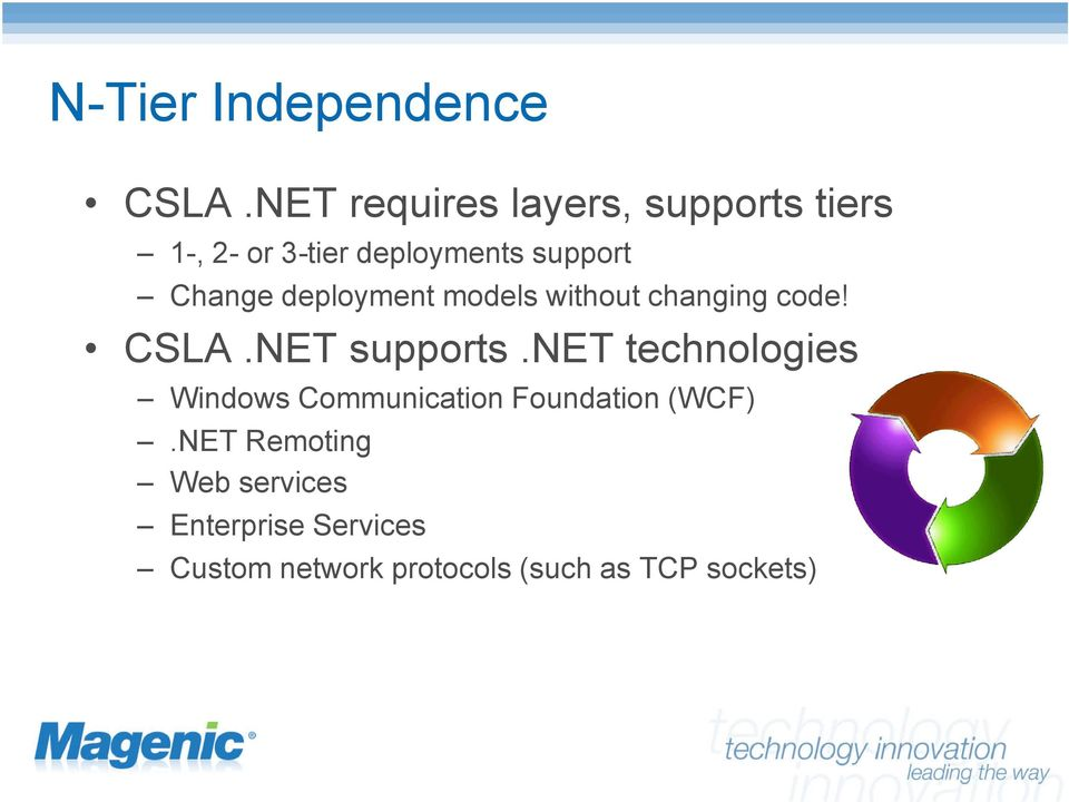 Change deployment models without changing code! CSLA.NET supports.