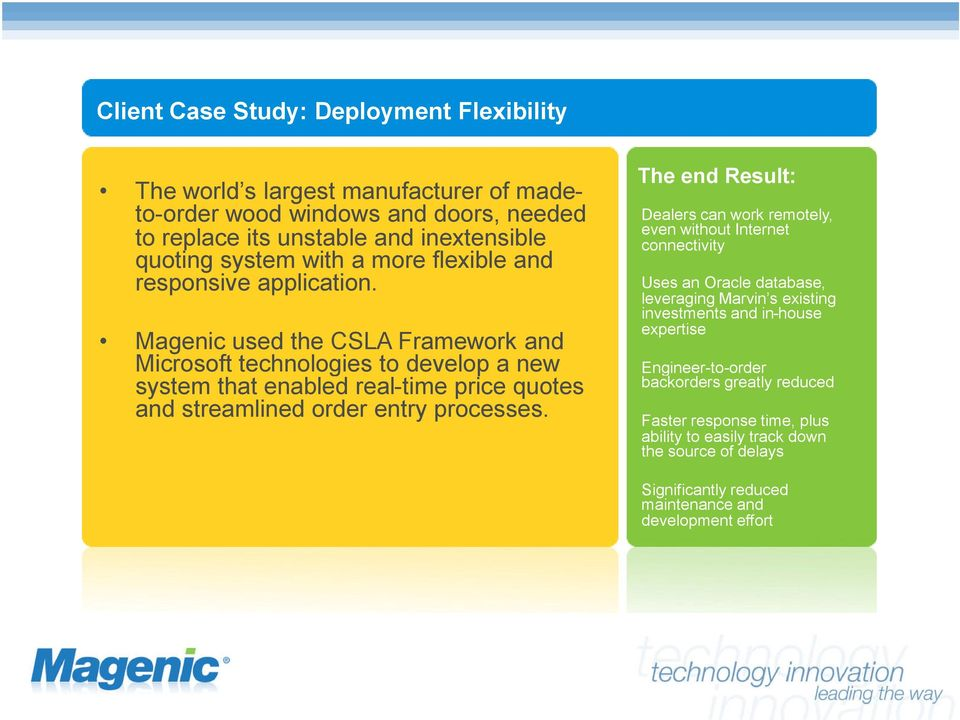 Magenic used the CSLA Framework and Microsoft technologies to develop a new system that enabled real-time price quotes and streamlined order entry processes.