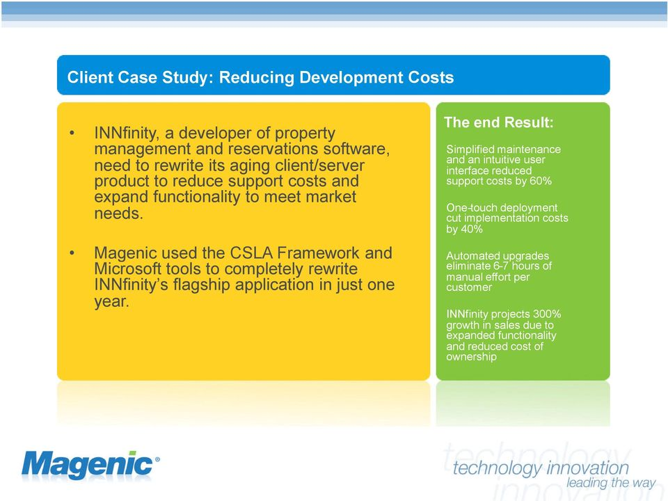 Magenic used the CSLA Framework and Microsoft tools to completely rewrite INNfinity s flagship application in just one year.