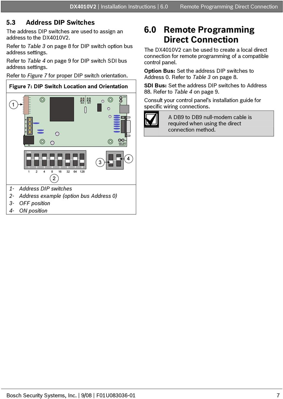 Figure 7: DIP Switch Location and Orientation 1 Rx Tx BUS Tx SER Rx P2 LED 6.