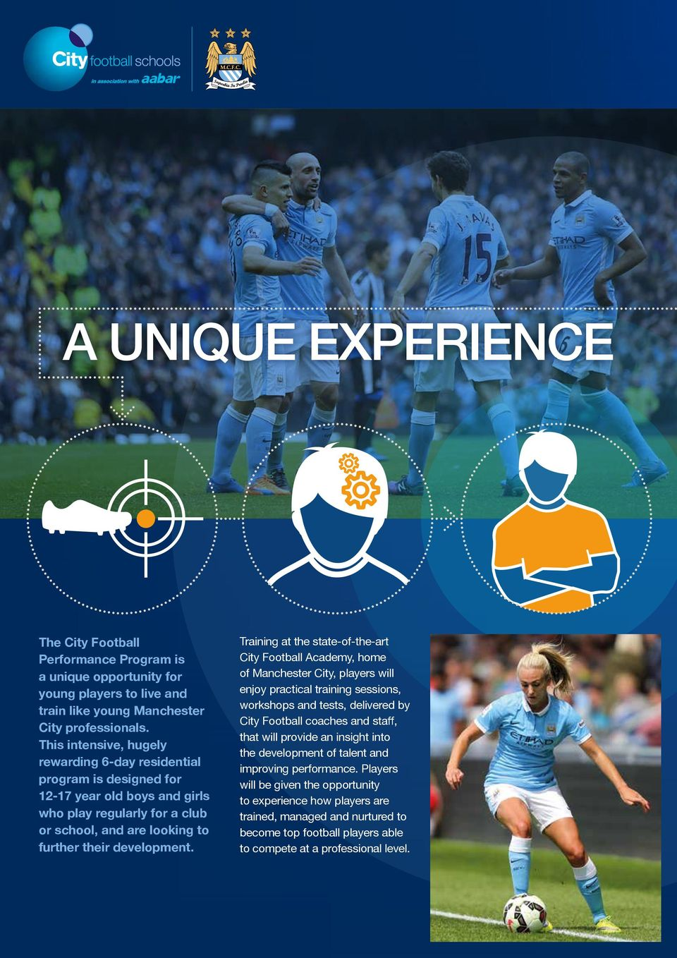 Training at the state-of-the-art City Football Academy, home of Manchester City, players will enjoy practical training sessions, workshops and tests, delivered by City Football coaches and staff,