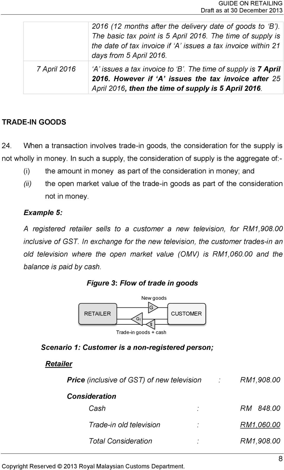 When a transaction involves trade-in goods, the consideration for the supply is not wholly in money.