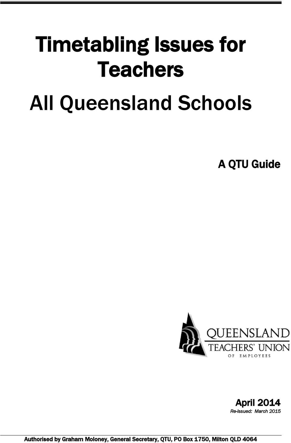 Timetabling Issues for Teachers All Queensland Schools - PDF