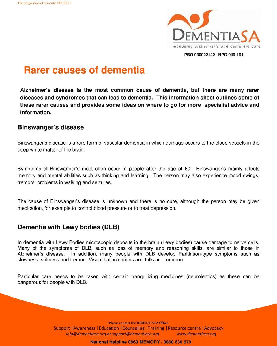 Binswanger s disease Binswanger s disease is a rare form of vascular dementia in which damage occurs to the blood vessels in the deep white matter of the brain.