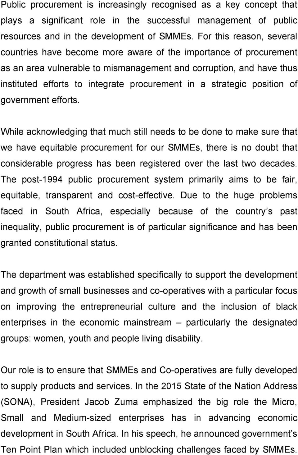 procurement in a strategic position of government efforts.
