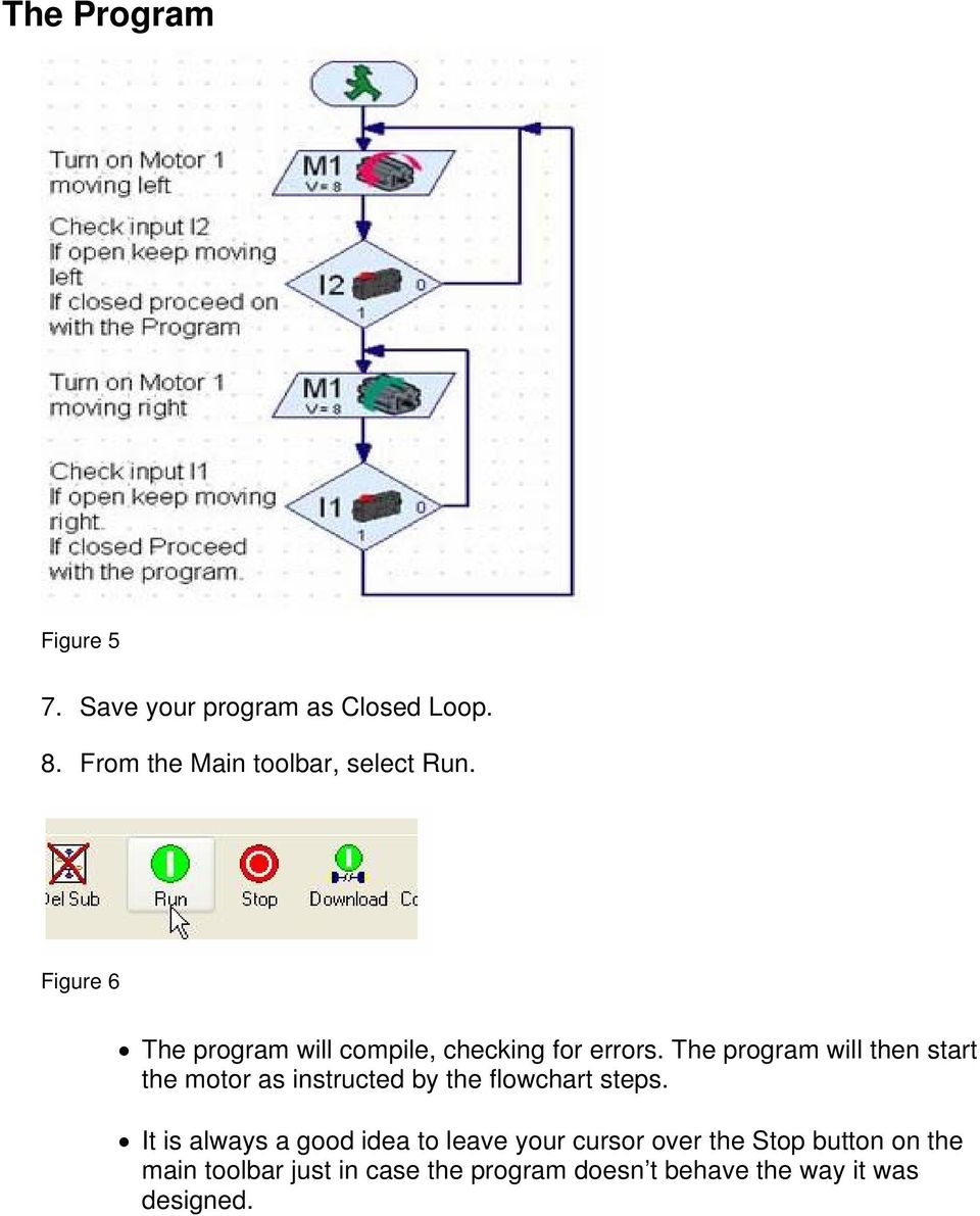 The program will then start the motor as instructed by the flowchart steps.